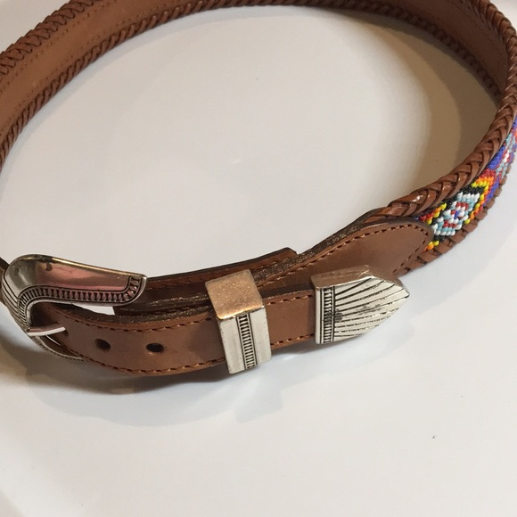 Leather beaded belt buckle Antique